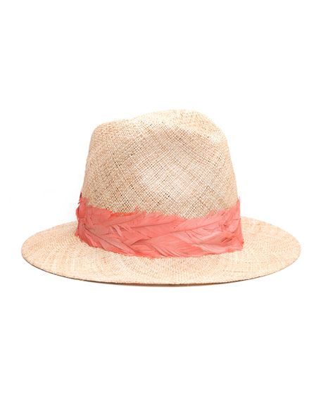Eugenia Kim Courtney Straw Panama Hat w/ Feather