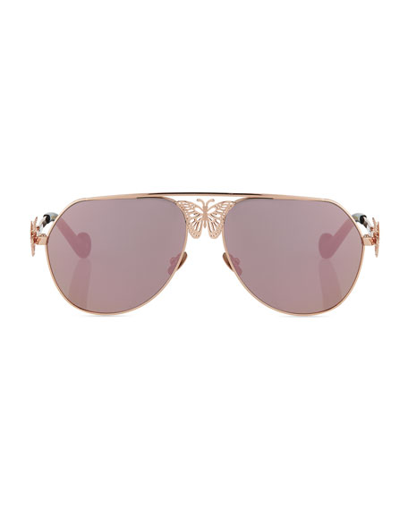 Miss Rosell Aviator Sunglasses w/ 3D Butterfly Detail, Rose