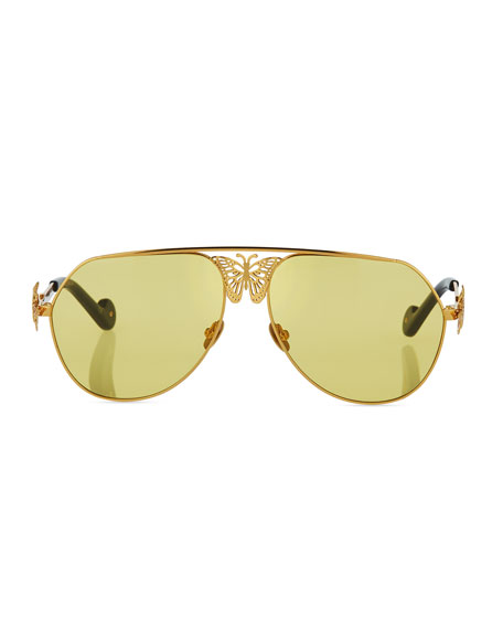 Miss Rosell Aviator Sunglasses w/ 3D Butterfly Detail, Gold