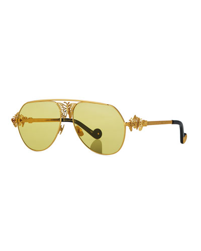 Miss Rosell Aviator Sunglasses w/ 3D Butterfly Detail, Gold