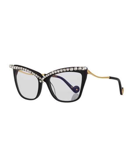 Lusciousness Divine Cat-Eye Crystal Optical Frames, Black