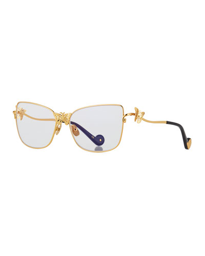 Le Papillon Cat-Eye Optical Frames w/ 3D Butterfly Detail, Gold