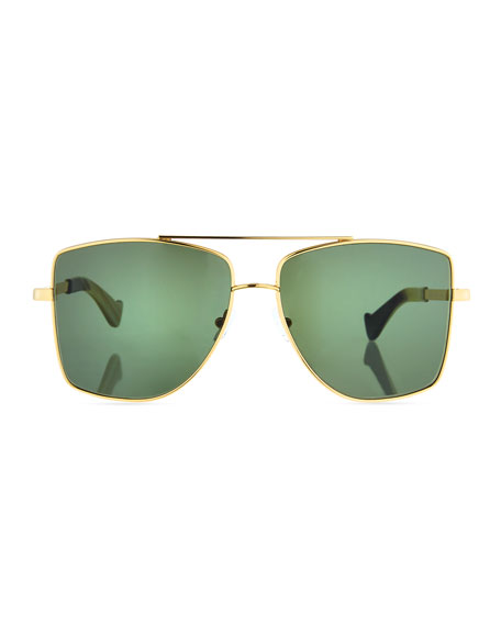 Dempsey Metal Square Sunglasses, Gold