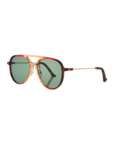 Praph Acetate Aviator Sunglasses, Red