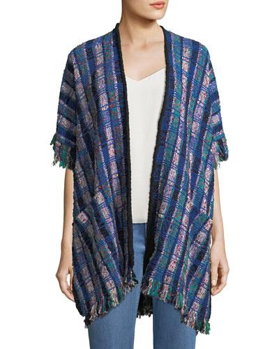 Fringed Tweed Poncho Sweater