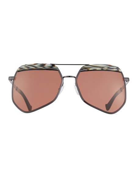 Hexcelled Acetate & Metal Sunglasses, Black