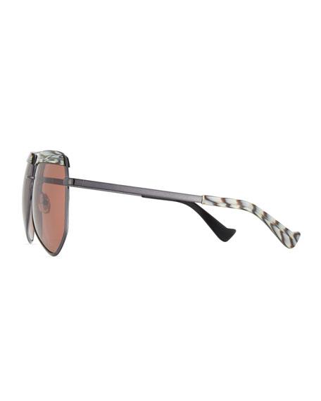 Hexcelled Acetate & Metal Sunglasses, Black
