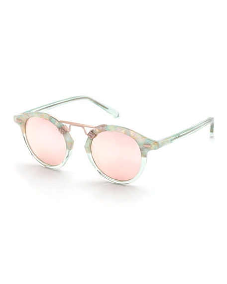 KREWE St. Louis Two-Tone Round Mirrored Sunglasses, Rose Gold
