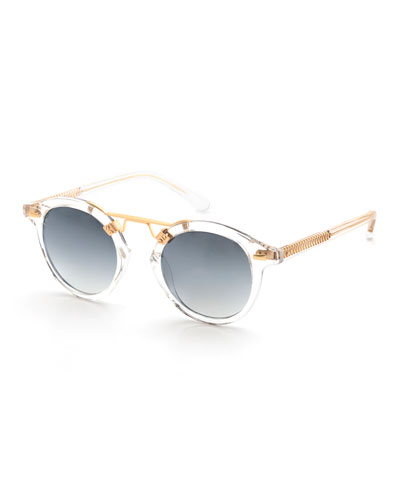 St. Louis Transparent Round Mirrored Sunglasses, Clear