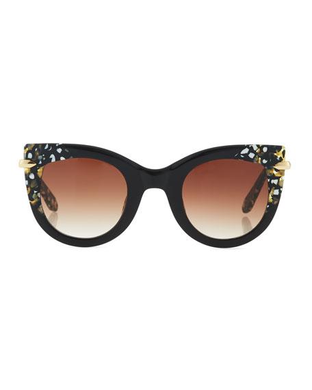 Laveau Cat-Eye Sunglasses, Black