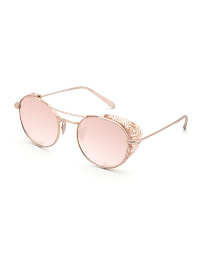 Orleans Round Mirrored Sunglasses w/ Side Blinders, Rose Gold