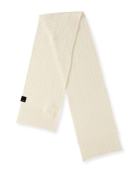 Basket-Stitch Merino Wool Scarf