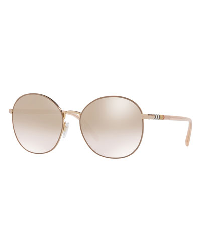 Check-Trim Round Mirrored Sunglasses