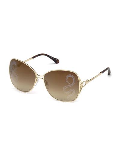 Gradient Butterfly Sunglasses w/ Snake Lenses