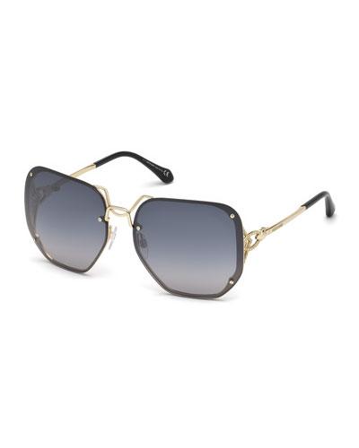 Square Rimless Gradient Sunglasses, Silver