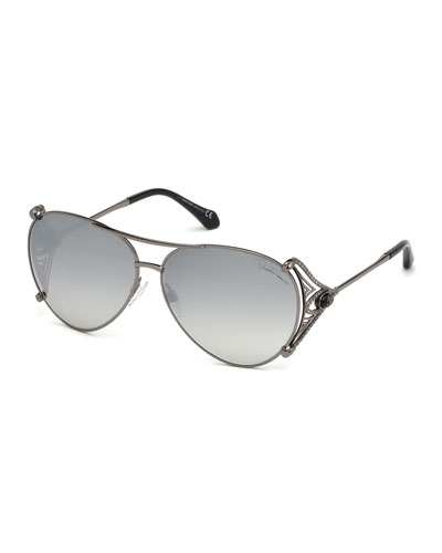 Metal Aviator Sunglasses, Black