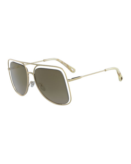 Poppy Cutout Metal Aviator Sunglasses