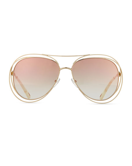 Carlina Trimmed Aviator Sunglasses