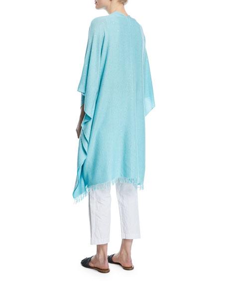 Cashmere/Silk Paillette Sequin Poncho Wrap