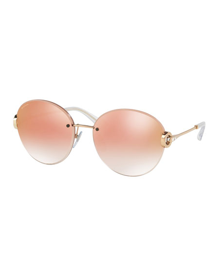 Rhinestone Logo-Disc Round Sunglasses