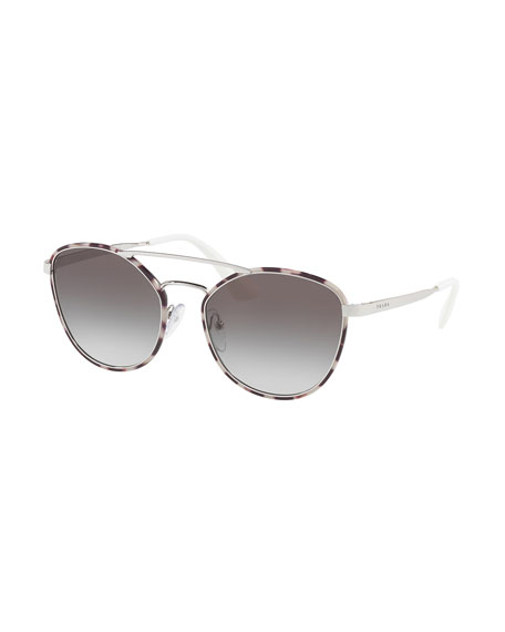 Gradient Curved-Brow Square Sunglasses