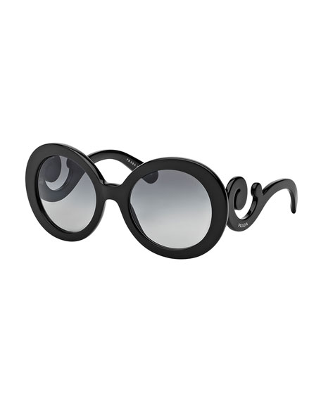 Prada Gradient Round Scroll Sunglasses
