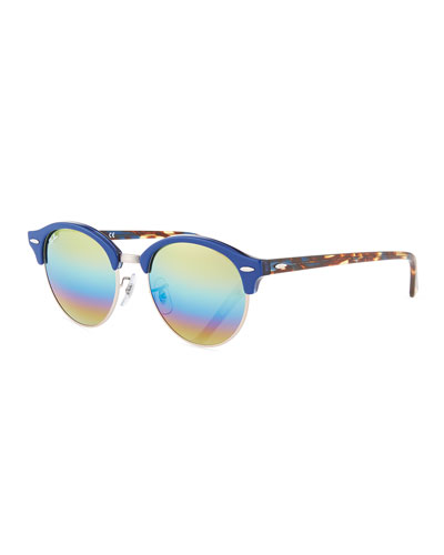 Round Mirrored Clubmaster® Sunglasses, Brown Tortoise/Blue