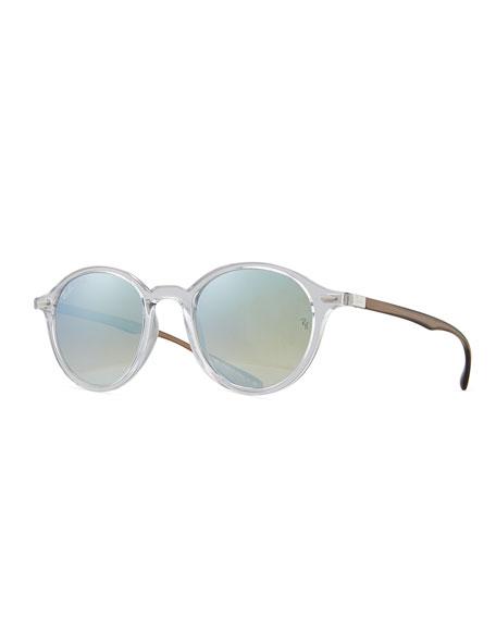 Round Two-Tone Flash Sunglasses
