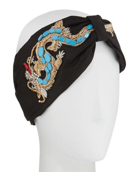 Silk Satin Dragon Turban Head Wrap