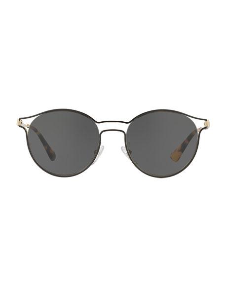 Round Metal Open-Inset Sunglasses, Black/Gold