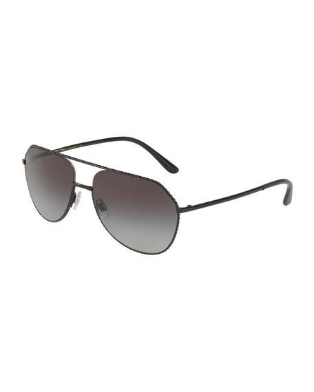 Braided Metal Aviator Sunglasses