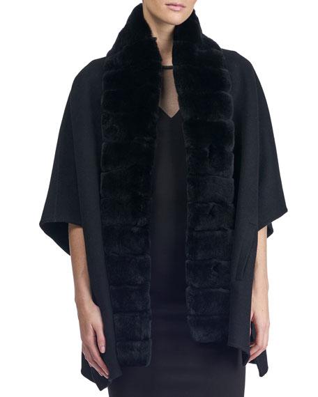 Wool Cape w/ Fur Collar Trim
