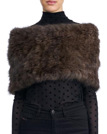 Knit Fur Neck Warmer, Brown