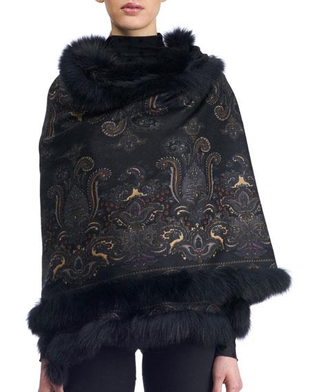 Paisley Cashmere Stole w/ Fur Trim, Black Pattern