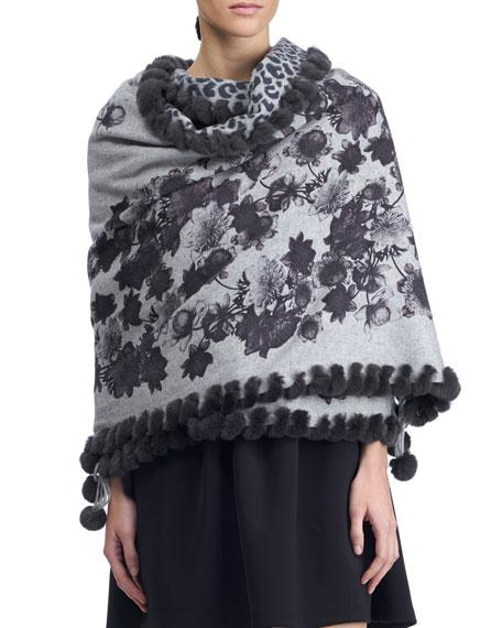 Floral & Cheetah Print Cashmere Stole w/ Fur Trim. Gray Pattern