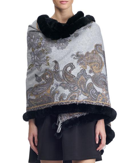 Paisley & Leopard Print Cashmere Stole w/ Fur Trim, Charcoal