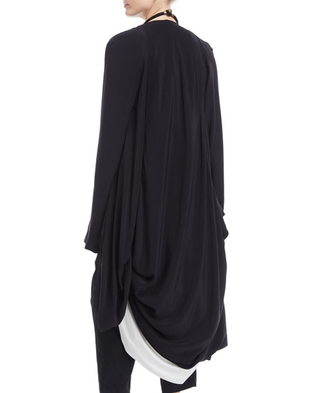 Washed Silk Draped Cocoon Cardigan