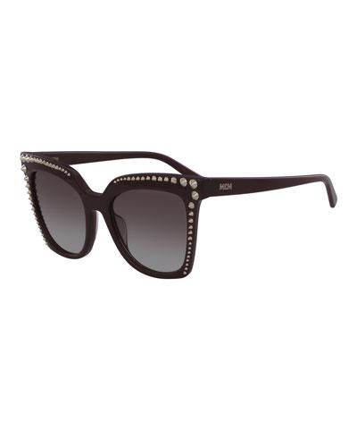 Square Cat-Eye Sunglasses w/ Stud Detail