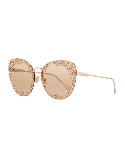 Fiore Rimless Cat-Eye Sunglasses w/ Crystal Embellishment
