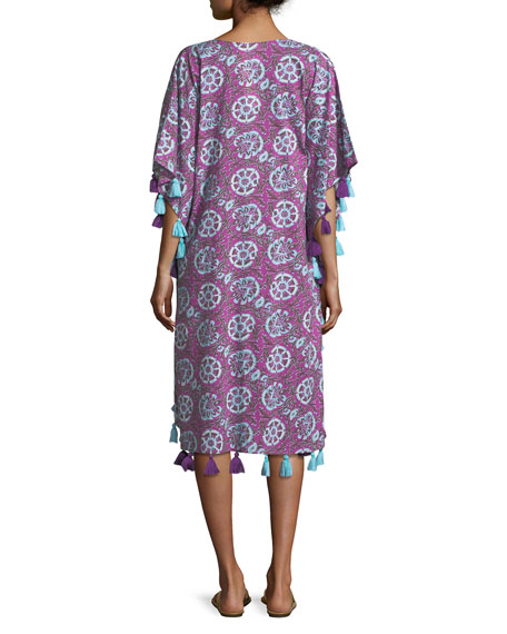 Amrita Tassel-Trim Caftan Dress
