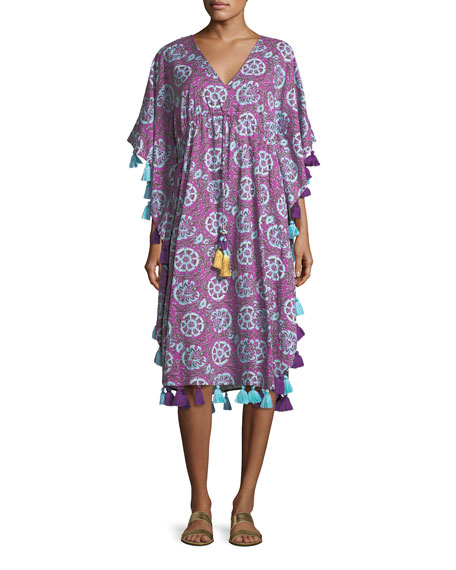 Amrita Tassel-Trim Caftan Dress