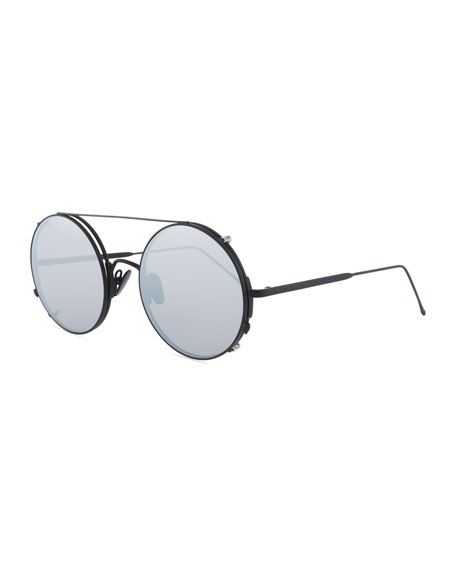 SUNDAY SOMEWHERE Valentine Round Clip-On Sunglasses in Black