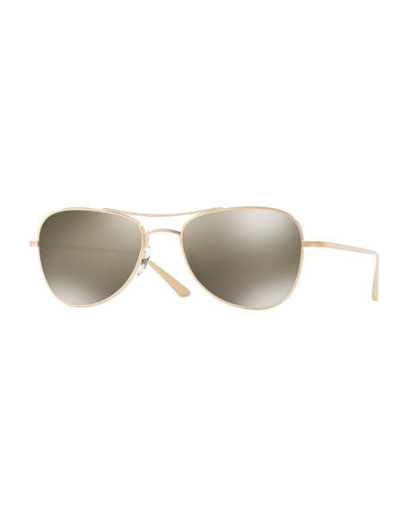 Oliver Peoples Executive Suite 53 Mirrored Aviator Sunglasses