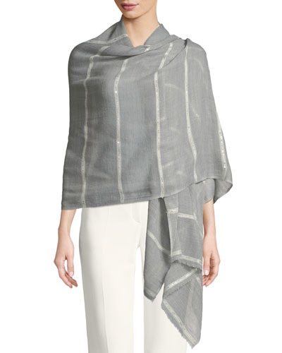 Wool-Silk Striped Stole Delicacy w/ Sequins