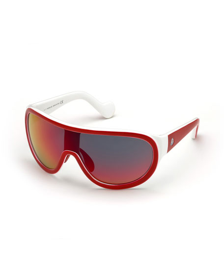 Mirrored Shield Sunglasses, Red/White