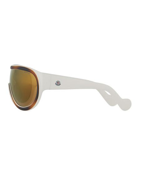 Mirrored Shield Sunglasses, Brown/White