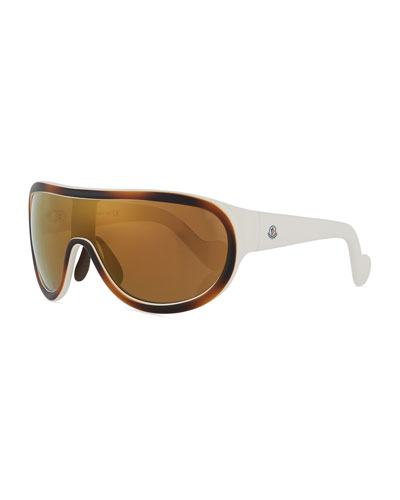 Mirrored Shield Sunglasses, Brown/White