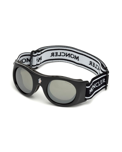 Round Sunglasses w/ Wide Elastic Band, Black/White