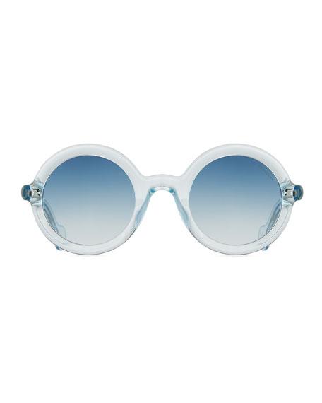 Round Transparent Acetate Sunglasses, Blue
