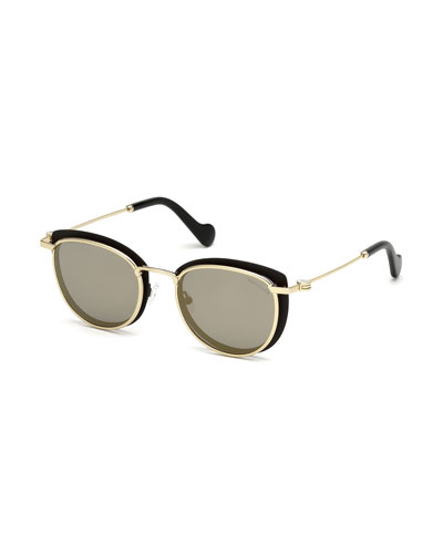 Metal Cat-Eye Mirrored Sunglasses, Black/Gold